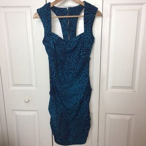 Akira Body Con Ruched Blue Exposed Zipper Dress